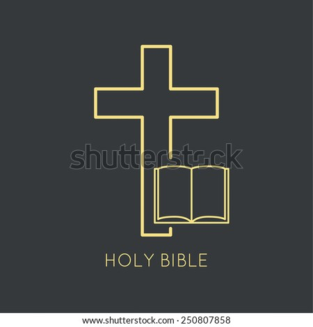 Open Bible with a crucifix. Symbols of Christianity and forgiveness. minimal. Outline. - stock vector