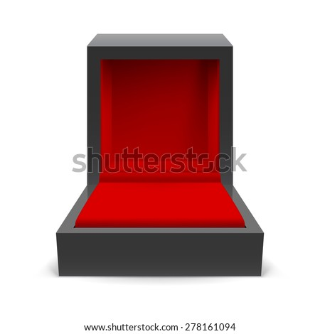 Open black box for jewelry on a white background - stock vector