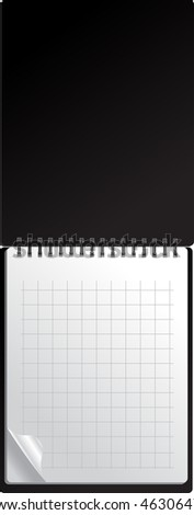 Open black notebook with page curl - stock vector