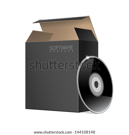 Open Black Package Box with DVD Or CD Disk. For Presentation Computer Software.  Vector icon