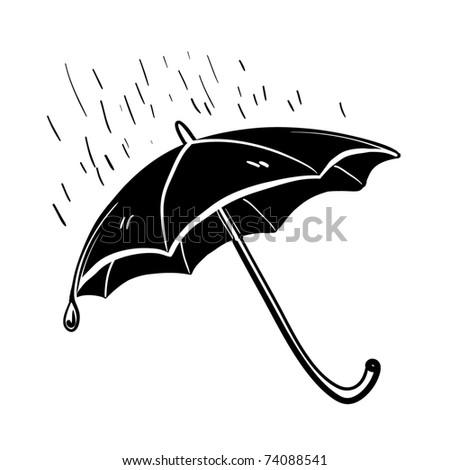 Open black umbrella. Protection against a rain. A children's sketch. Conceptual idea - stock vector