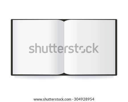 Open  blank book with white pages  isolated on white background. Vector illustration. - stock vector