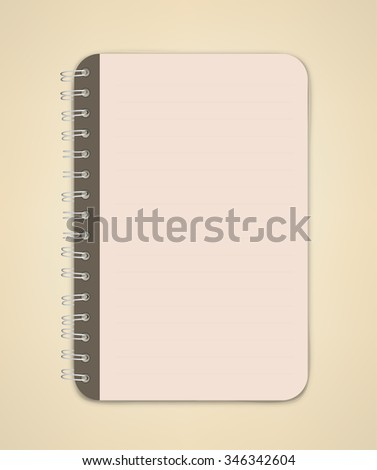 Open Blank Brown Page Notebook Vector - stock vector