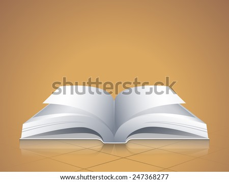 Open blank pages book on brown background.