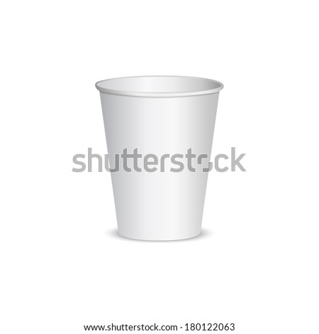 Open blank paper cup for coffee. isolated on white background