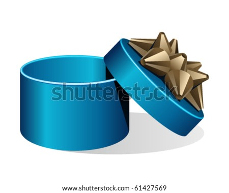 Open blue gift with gold bow. Eps 10 - stock vector