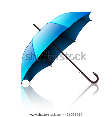 Open Blue Umbrella Isolated on a White Background. Vector Illustration .