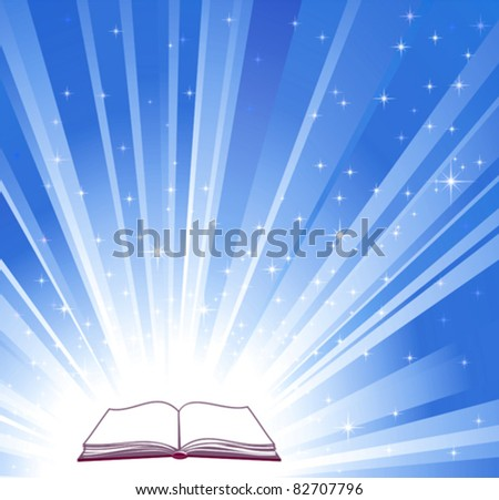 Open book and blue bright background, vector illustration - stock vector