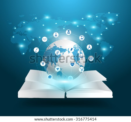 Open book and globe knowledge ideas concept, With education chemistry and science icons, Vector illustration template modern design - stock vector