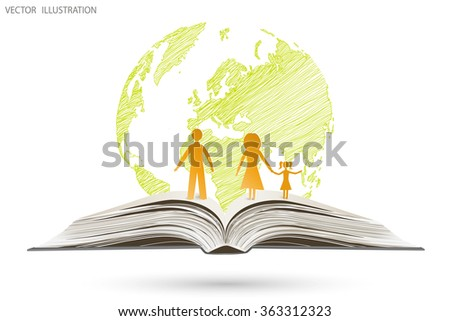 Open book happy family stories on the background of globe, vector illustration template design. Handwriting