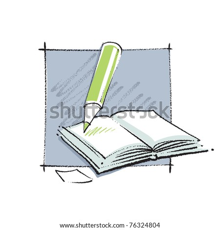 Open book icon (simple linear drawing, chalk technique, vector)