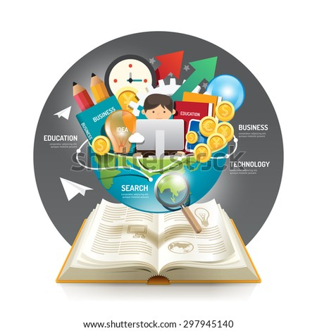 Open book infographic innovation idea on world vector illustration. business education concept.can be used for layout, banner and web design. - stock vector