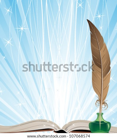 Open book, ink and feather on a blue shining background - stock vector