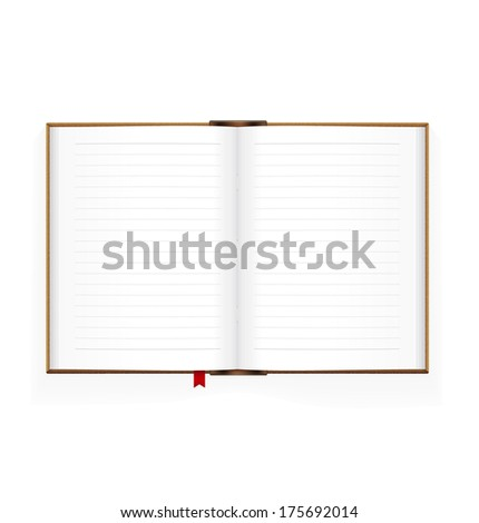Open book isolated on white background. Detailed vector illustration. Realistic. Print quality. Top view - stock vector