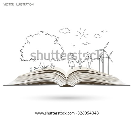 Open book of happy family stories. Doodle. Vector illustration template design - stock vector