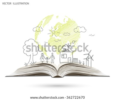Open book of happy family stories, Vector illustration template design. - stock vector