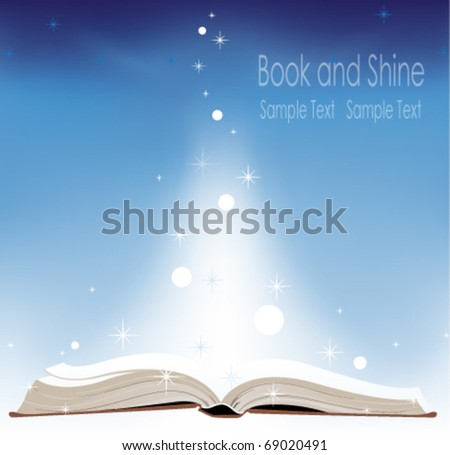 Open book on a blue background - stock vector