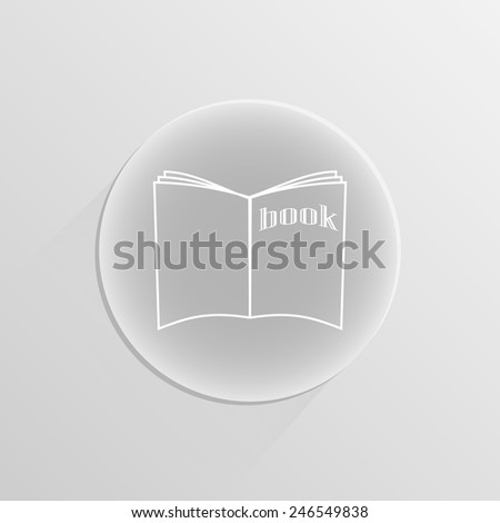 Open book on a white button with shadow