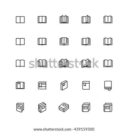Open Book Outline Icons Education - stock vector