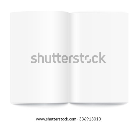 Open book page template isolated on white. Ready for a content. - stock vector