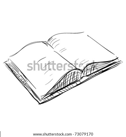Open book sketch icon illustration - stock vector