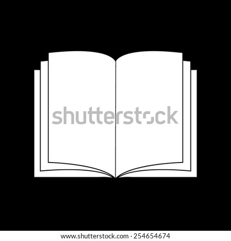 Open book - vector icon on a black background