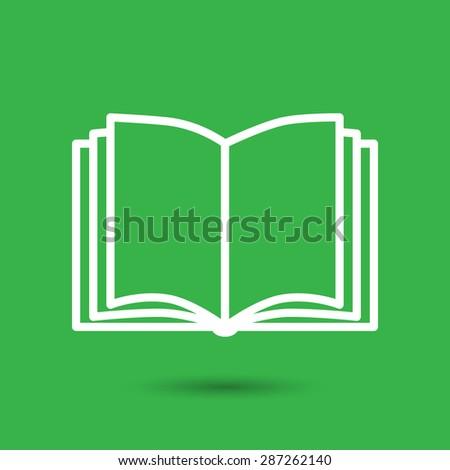 Open book vector icon on a green background - stock vector