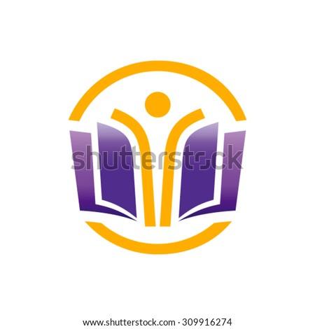 Open book vector logo design template.  - stock vector