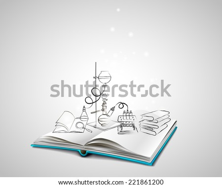 Open book with a blue cover. Science icons doodles Chemical Laboratory. A stack of books. Education, research, experiments. The book is about chemistry. - stock vector