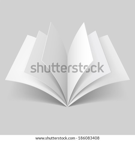 Open book with blank pages isolated on grey background - stock vector