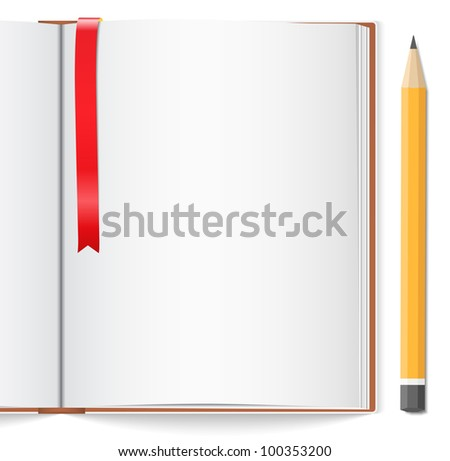Open book with bookmark and pencil, vector eps10 illustration - stock vector