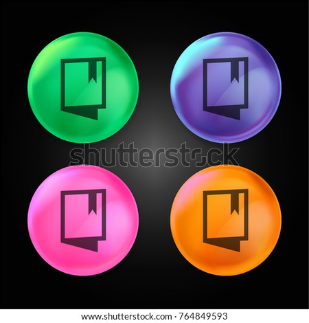 Open Book with Bookmark crystal ball design icon in green - blue - pink and orange.