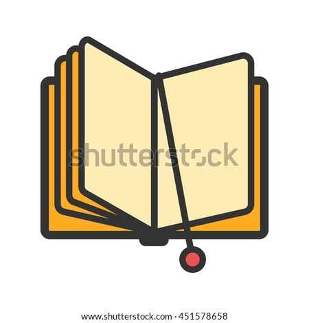 Open book with bookmark icon. Vector illustration - stock vector