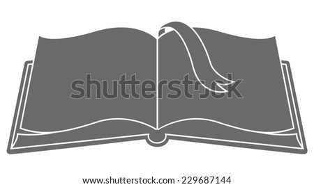 Open book with bookmark silhouette vector