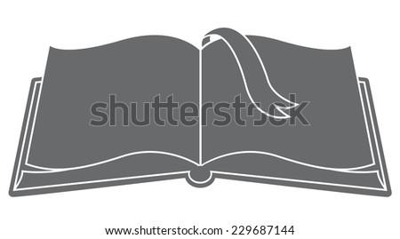 Open book with bookmark silhouette vector - stock vector