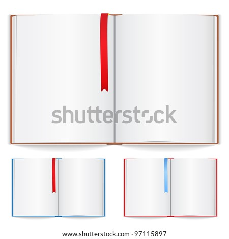 Open book with bookmark, vector eps10 illustration (transparent shadows) - stock vector