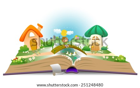 Open book with boy and fairy landscape - stock vector