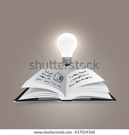 Open book with bulb - vector illustration - stock vector