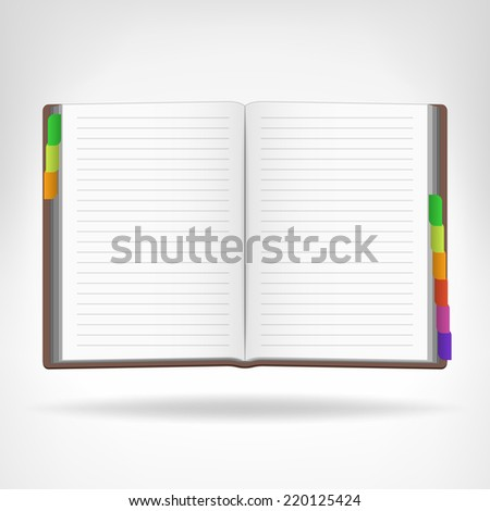 open book with colorful bookmarks aside isolated object vector illustration - stock vector
