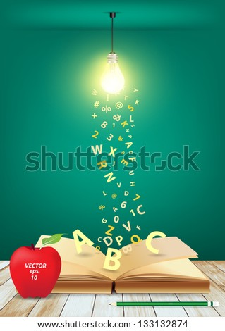 Open book with creative light bulb and falling letters on wood planks, Vector illustration template design - stock vector