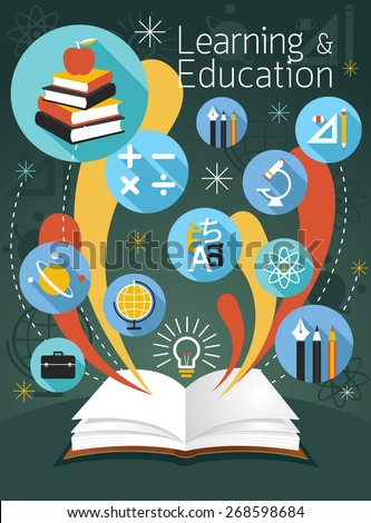 Open Book with Education Icons, School, Learning and Study - stock vector