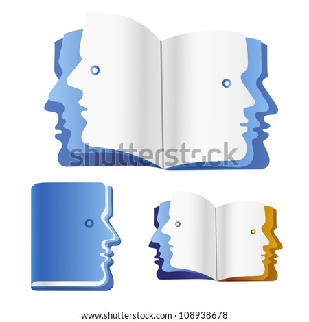 Open book with faces