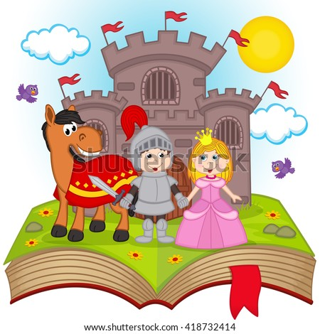 open book with fairy tale - vector illustration, eps - stock vector
