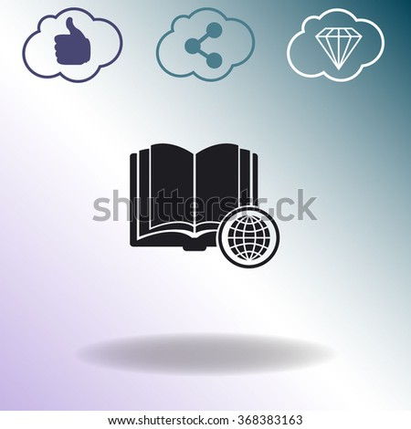 Open book with globe vector icon.