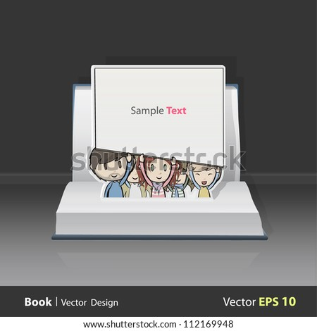 Open book with group of kids holding cardboard. Vector design. Pop-Up Illustration. - stock vector