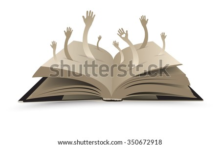 Open book with hands- vector illustration  - stock vector