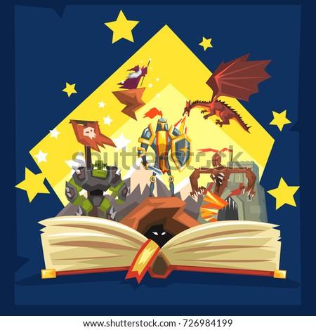 Open Book Legend Fairy Tail Fantasy Stock Vector 726984199 ...