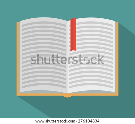 Open book with long shadow - flat style - stock vector