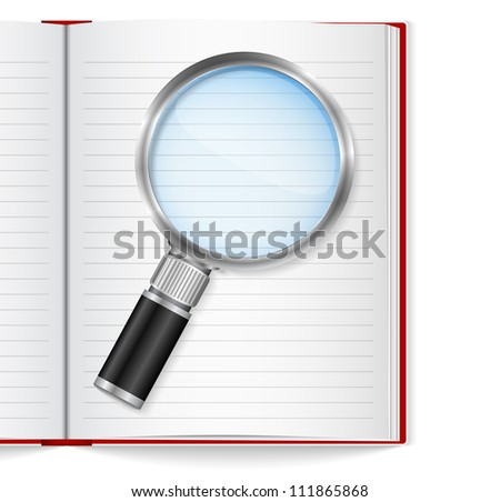 Open book with magnifying glass, vector eps10 illustration - stock vector