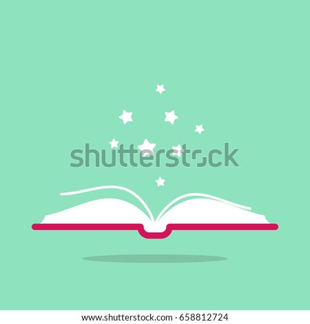 Open book with red book cover and white stars flying out.  Isolated on turquoise background. Flat icon. Vector illustration. Magic reading logo. Fairytale pictogram.